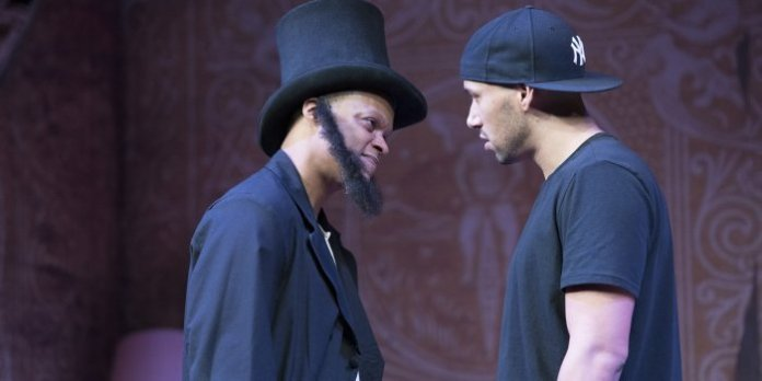 Michael Blake and Luc Roderique in the Arts Club Theatre Company production of Topdog/Underdog. Photo by David Cooper.