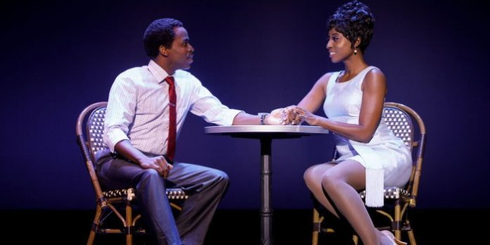 Kenneth Mosley as Berry Gordy, and Trenyce as Diana Ross in Motown The Musical. Photo by Joan Marcus.