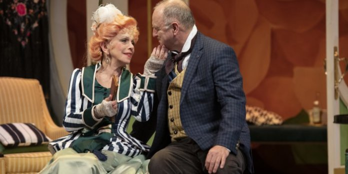 Nicola Lipman as Mrs. Dolly Levi and Ric Reid as Horace Vandergelder in the Arts Club Theatre Company production of The Matchmaker. Photo by David Cooper.