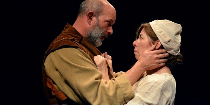 Ian Butcher (Jacques Arc) and Anita Wittenberg (Isabelle Arc) share a tender moment in Maid of the Mother. Photo by Jalen Laine Photography.