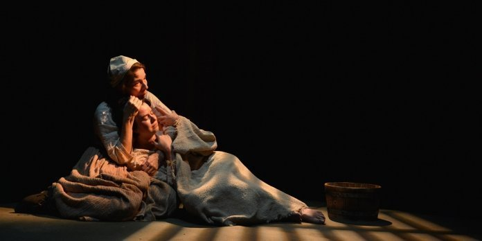 Anita Wittenberg as Isabelle Arc and Shona Struthers as Joan of Arc find emotional connection in Pacific Theatre's Mother of the Maid. Photo by Jalen Laine Photography.