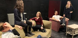 Members of the cast of in the Vagrant Players Theatre Society production of Pot Kettle Black.