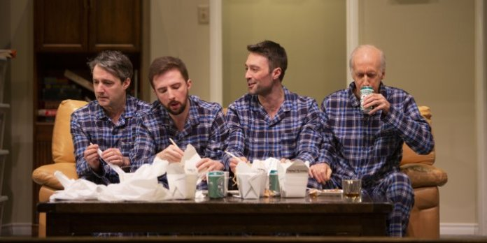 Members of the cast of the Gateway Theatre presentation of ITSAZOO Productions's Straight White Men. Photo by Tim Matheson.