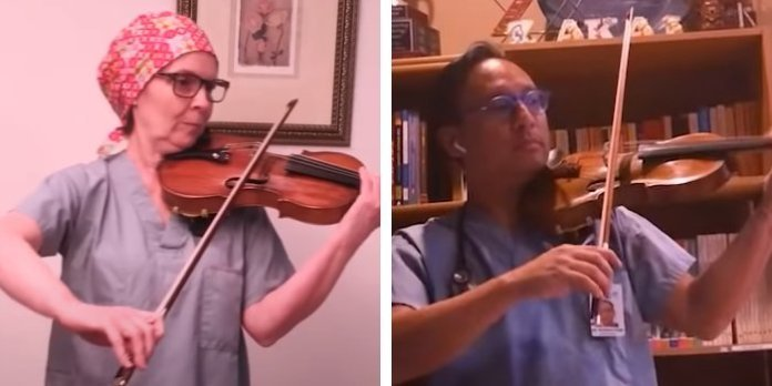 In a screenshot from the video, Drs. Julia Reynolds (left) and Holden Chow (right) perform and are joined by dozens of other healthcare workers from Lions Gate Hospital, Villa Cathay Care Home, St. Paul's Hospital, Vancouver General Hospital, Royal Columbian Hospital,Eagle Ridge Hospital,Surrey Memorial Hospital,UBC Hospital,Richmond Hospital,BC Emergency Health Services andGF Strong Rehabilitation Centre.