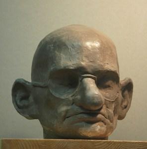 portrait head clay sculpture of Gandhi