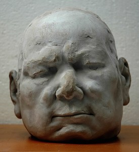 portrait head clay sculpture of old man