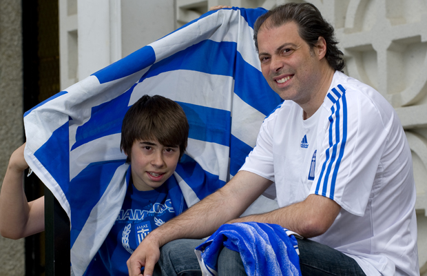 World Cup fans George and Gus Karvalis outside the Hellenic Community Centre in vancouver, May 2010.