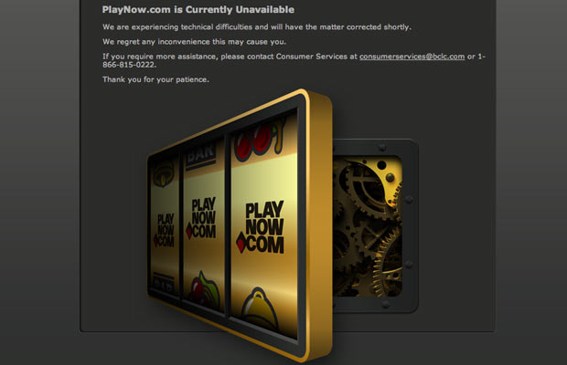 The B.C.  government's new online gaming website, playnow.com, went down yesterday  afternoon within hours of being launched and remains down this  morning.