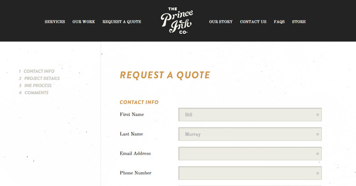 prince ink quote contact form