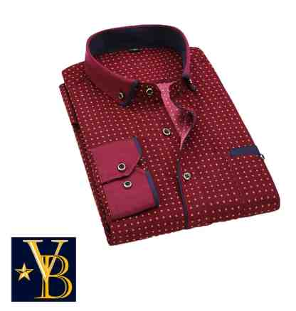 red patterned shirt, patterned shirt, dress shirt