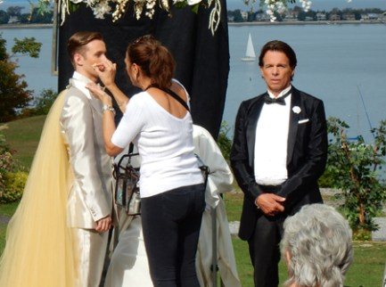 "Ian Whitt (left) and Patrick Askin prepare for the wedding scene in ""Nick and Nicky"""
