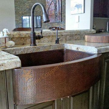 premier copper 33 inch kitchen rounded apron single basin sink