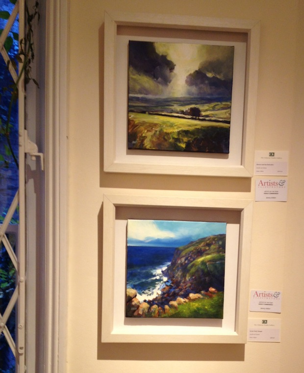 Jenny Aitken's Shower and Sun Derbyshire (top) and On the Wall, Tintagel (bottom) - Acrylic on Canvas
