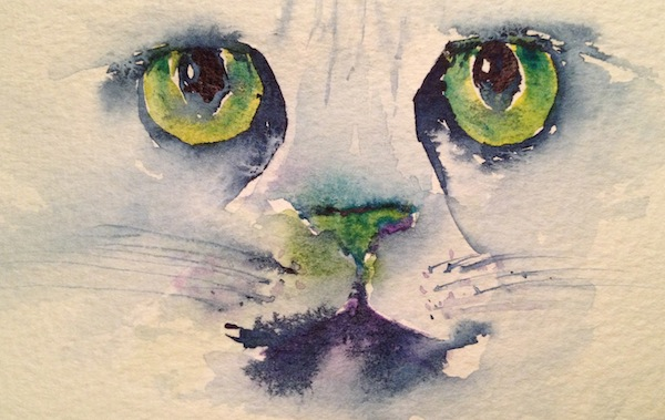 Cat's eyes in green and blue (watercolour sketch)