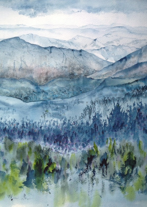 Watercolour painting of trees and hills - Horizons