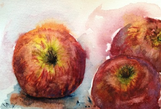 Watercolour painting - Red apple for the teacher