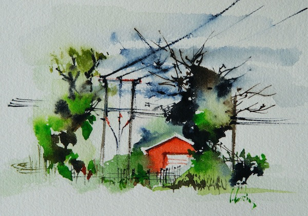Electricity by Olivia Quinton (watercolour 6 x 4 inches)