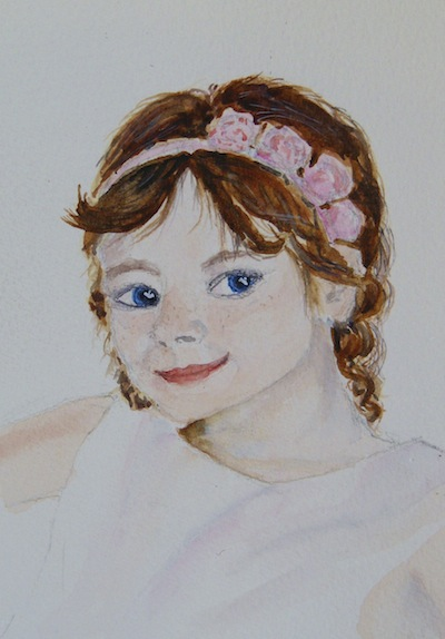 Pink Roses in her Hair (watercolour 4 x 6 inches) Artist: Vandy Massey