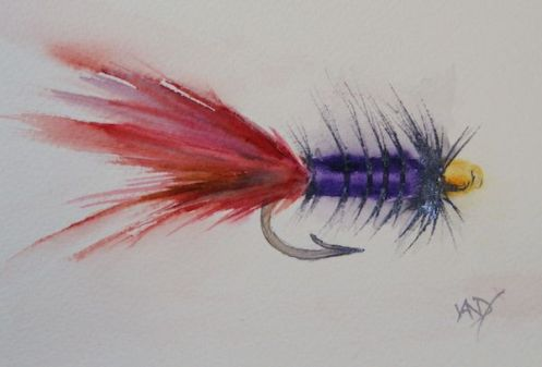 fishing flies in watercolour