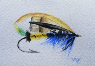 Fishing fly painting: Megan Boyd's Beauty (watercolour 15 x 10 cm)