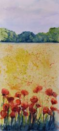 Sunshine on the Field (watercolour 16 x 35 cm) Artist: Vandy Massey