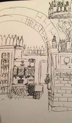 Restaurant interior sketch