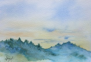Sunset speed painting 1 - painting Paxos watercolours