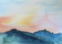Sunset speed painting 4 - painting Paxos watercolours