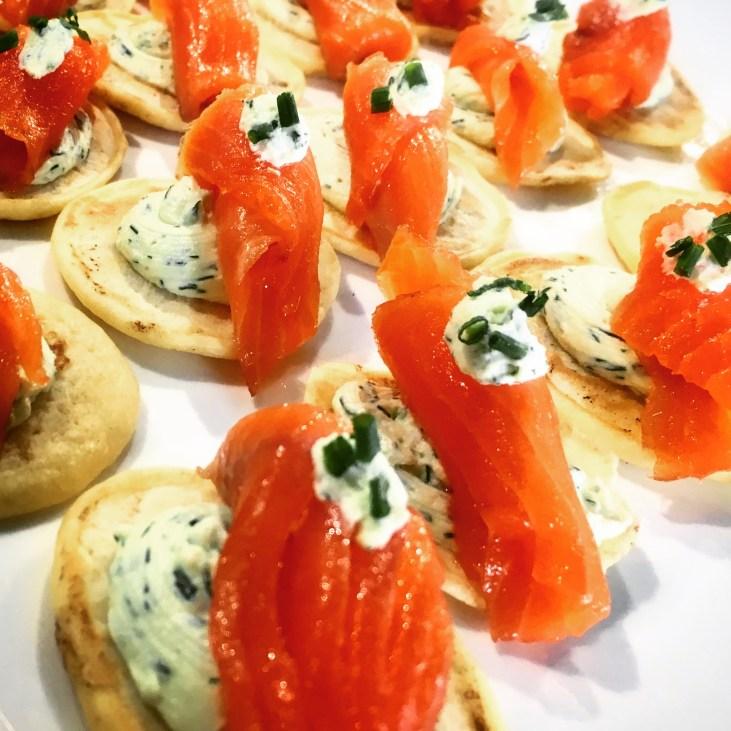 Blini with Smoked Salmon and Chive Cream