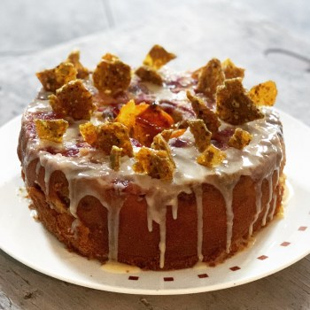 Cranberry and Orange Bundt Cake with shards of toffee