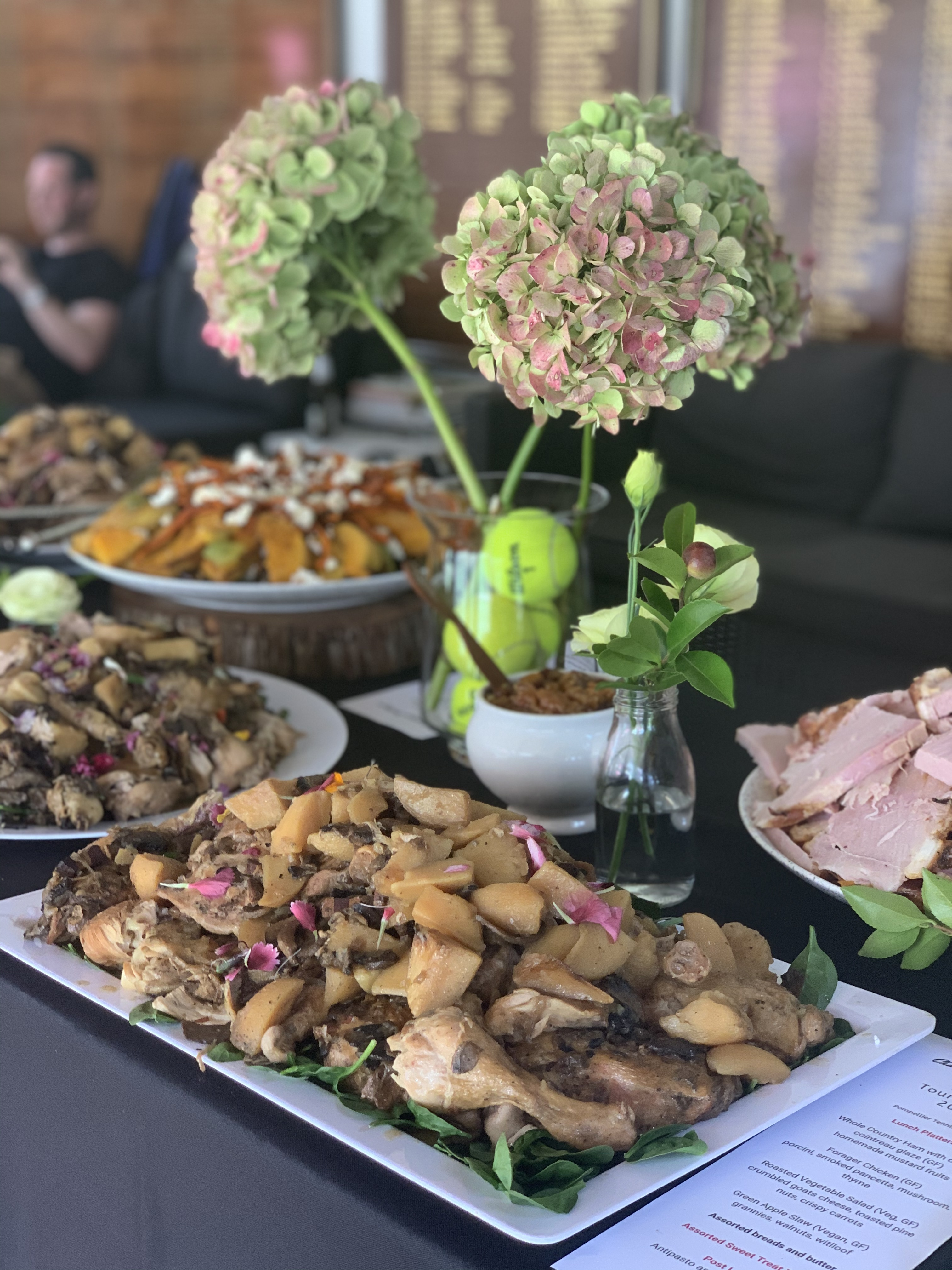 Chicken and porcini platter ready for tennis players at a Bollinger event