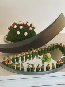Cucumbers with salmon mouse and smoked salmon at Art Gallery launch