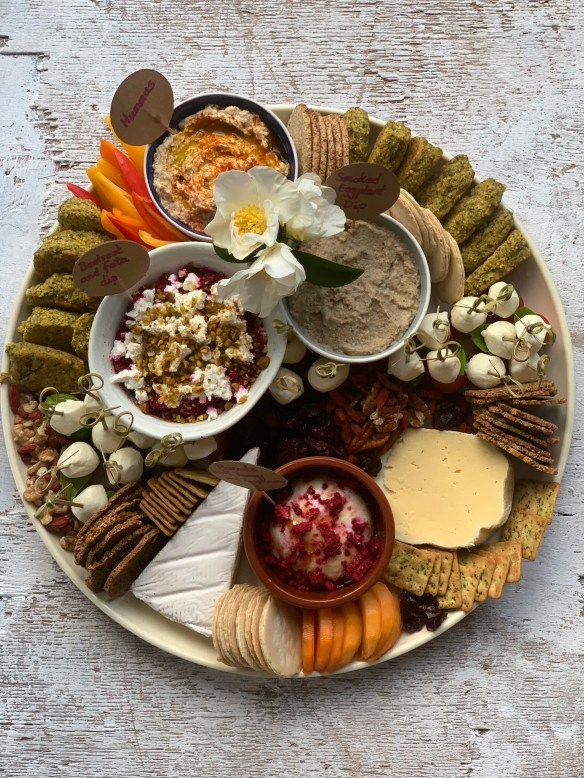A gorgeous mixed platter of antipasto and dips and crudités
