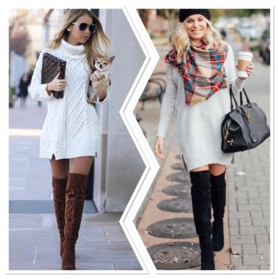 sweater dress with boots 5