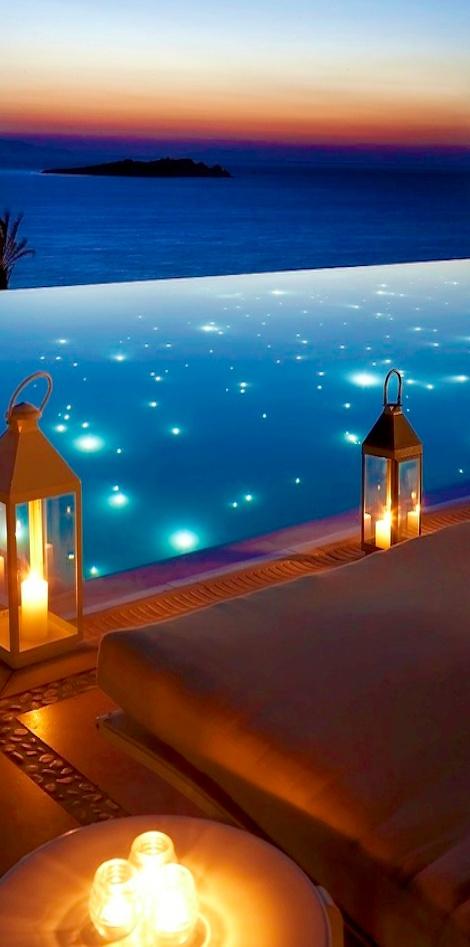 Pool Lights, Mykonos, Greece