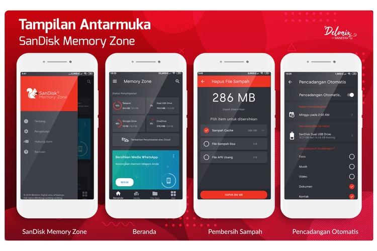 Tampilan antarmuka SanDisk Memory Zone