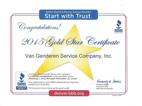 2015 BBB Gold Star Certificate