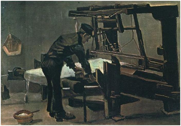 Vincent van Gogh's Tejedor de pie delante de un telar Painting