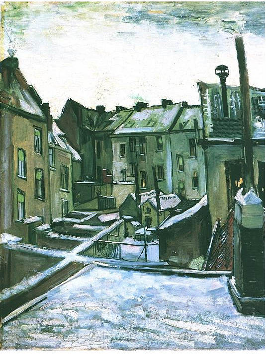 Vincent van Gogh's Backyards of old Houses in Antwerp in the Snow Painting