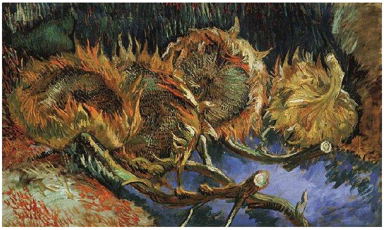 Vincent van Gogh's Four Cut Sunflowers Painting