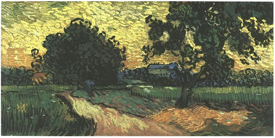 Landscape With The Chateau Of Auvers At Sunset By Vincent