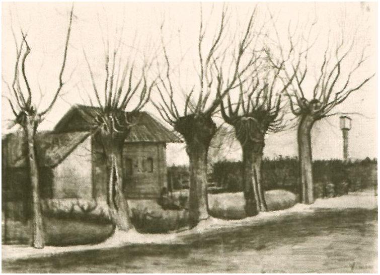 Small House On A Road With Pollard Willows By Vincent Van