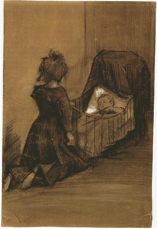 Girl Kneeling By A Cradle By Vincent Van Gogh 972 Drawing
