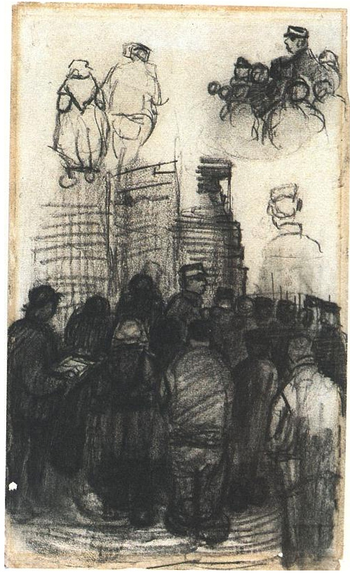 Sketches For The Drawing Of An Auction By Vincent Van Gogh