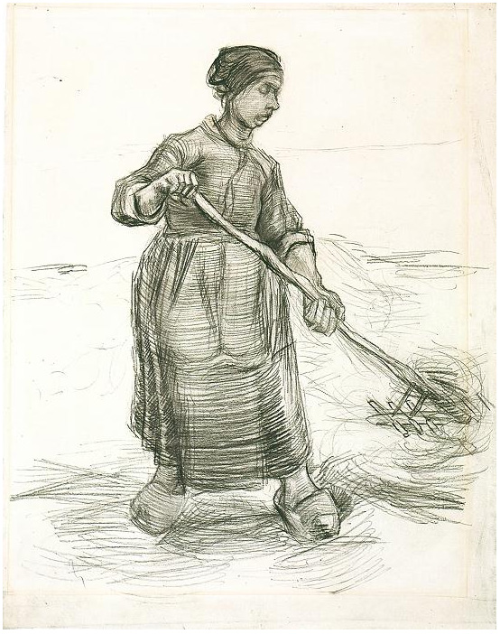 Peasant Woman Pitching Wheat Or Hay By Vincent Van Gogh