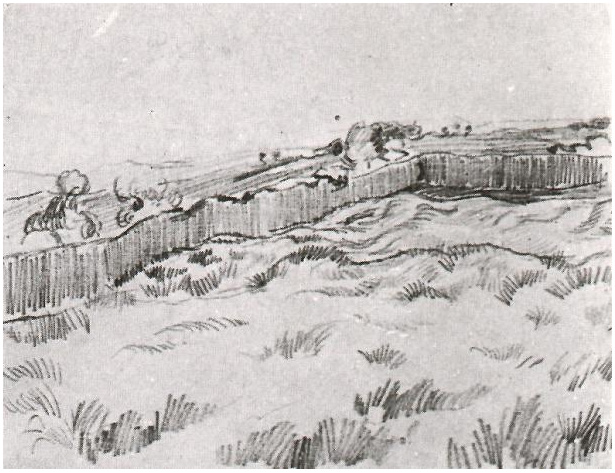 Enclosed Field By Vincent Van Gogh 897 Drawing Pencil