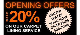 Save 20% on our carpet lining service