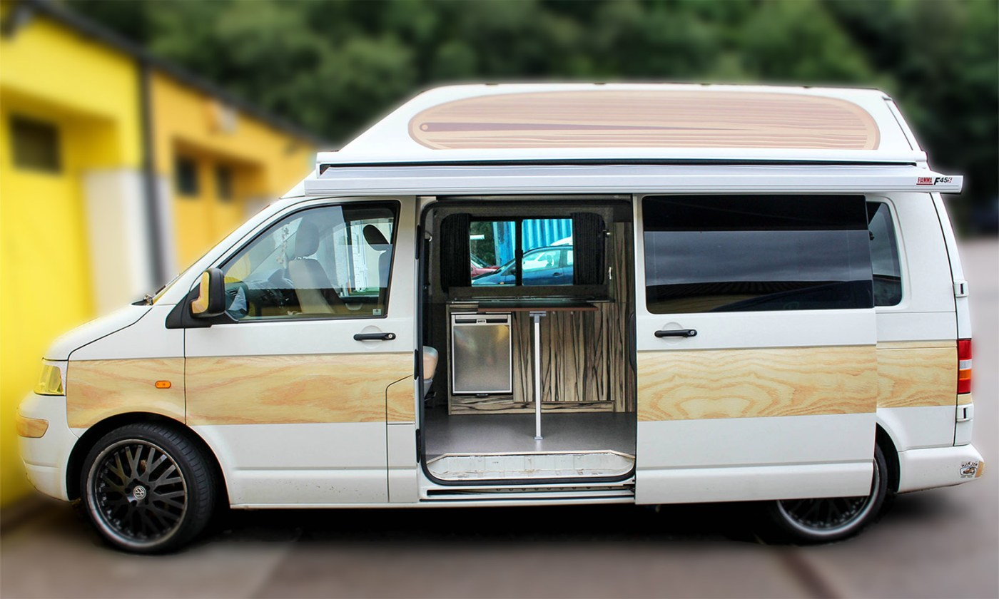 Woody VW T5 Surf Bus fitted with Fiamma f45 Awning