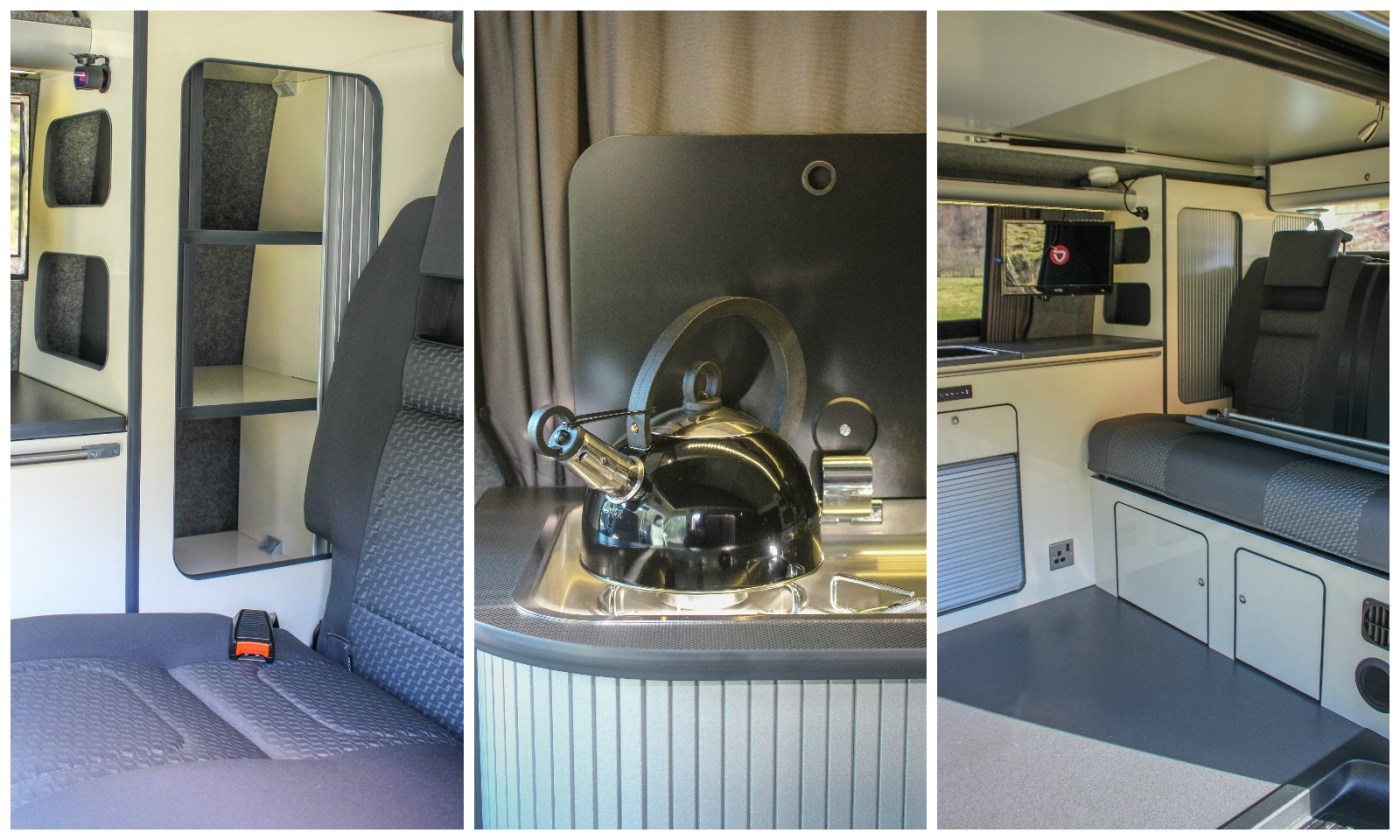 VW T5 Campervan Conversion SCA pop top roof fitted with bed system and installed furniture with Webasto Top loading fridge and CAN Hob with RIB bed