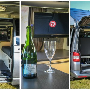 VW T5 Highline Campervan Conversion fitted with SCA pop top roof 190Comfort and installed with RIB bed, T.V. Sliding table, Webasto top loading fridge, CAN hob and Gas heater